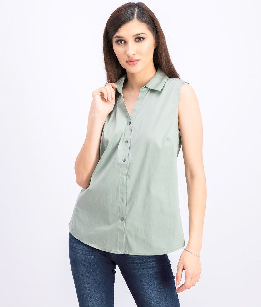 Women's Collared Shirt, Pond Green