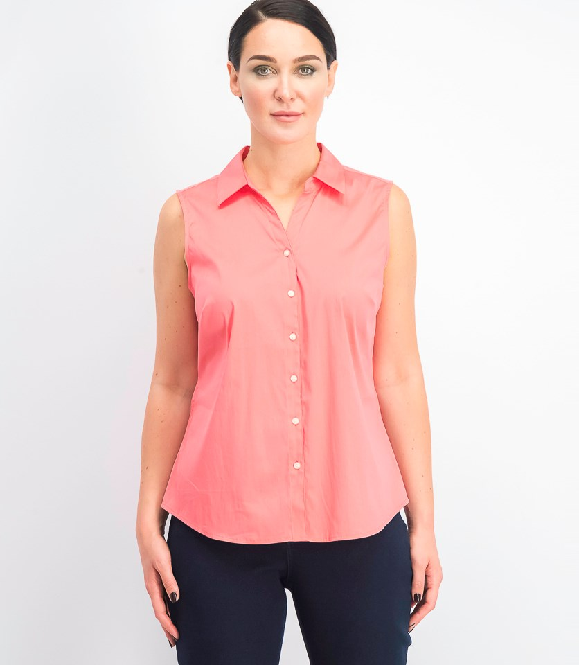 Women's Sleeveless Collared Shirt, Tucson Coral