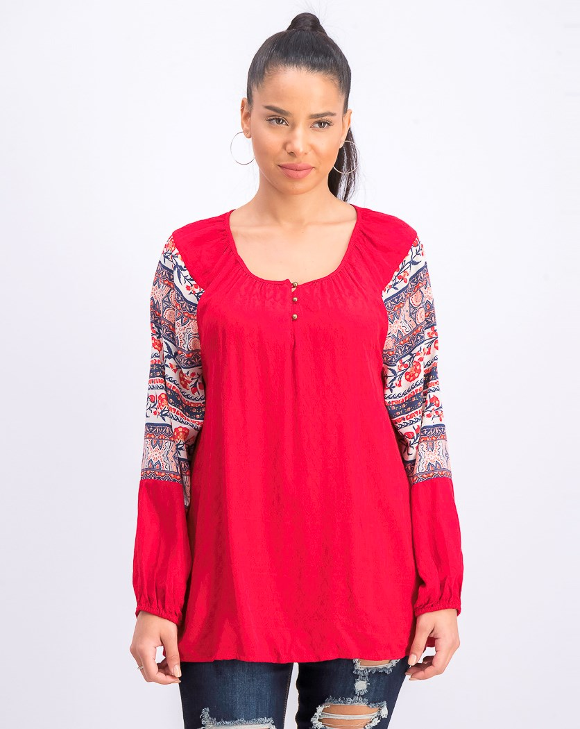 Women's Printed-Sleeve Peasant Top, Medley Muse