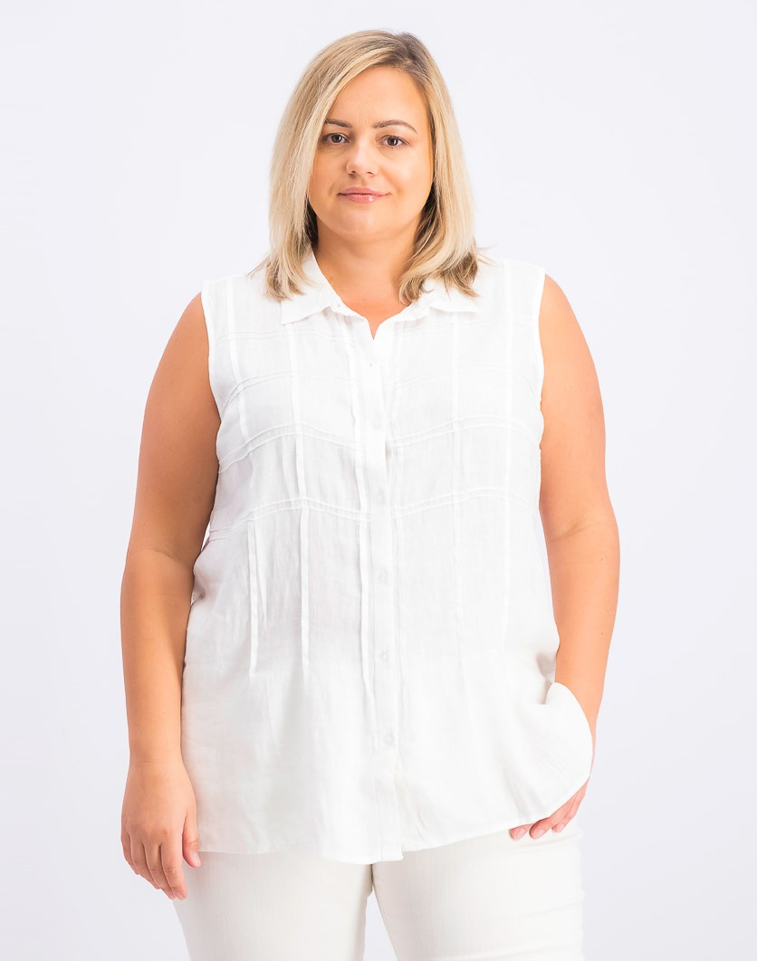 Petite Woven Linen Sleeveless Shirt, Bright White