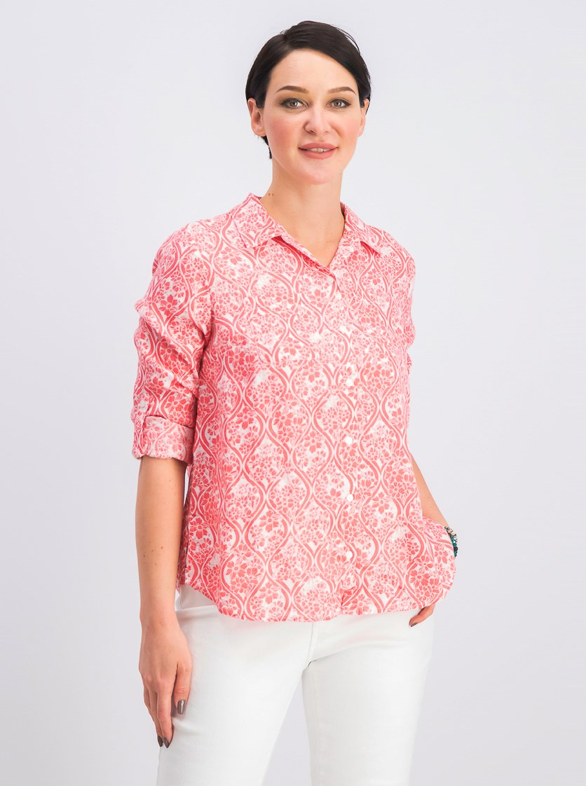 Womens  Petite Linen Utility Shirt, Tuscon Coral