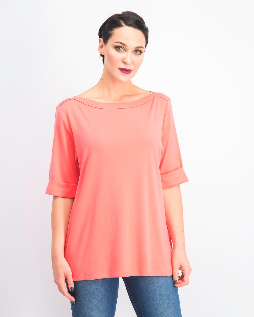 Women's Cotton Elbow-Sleeve Top, Peony Coral