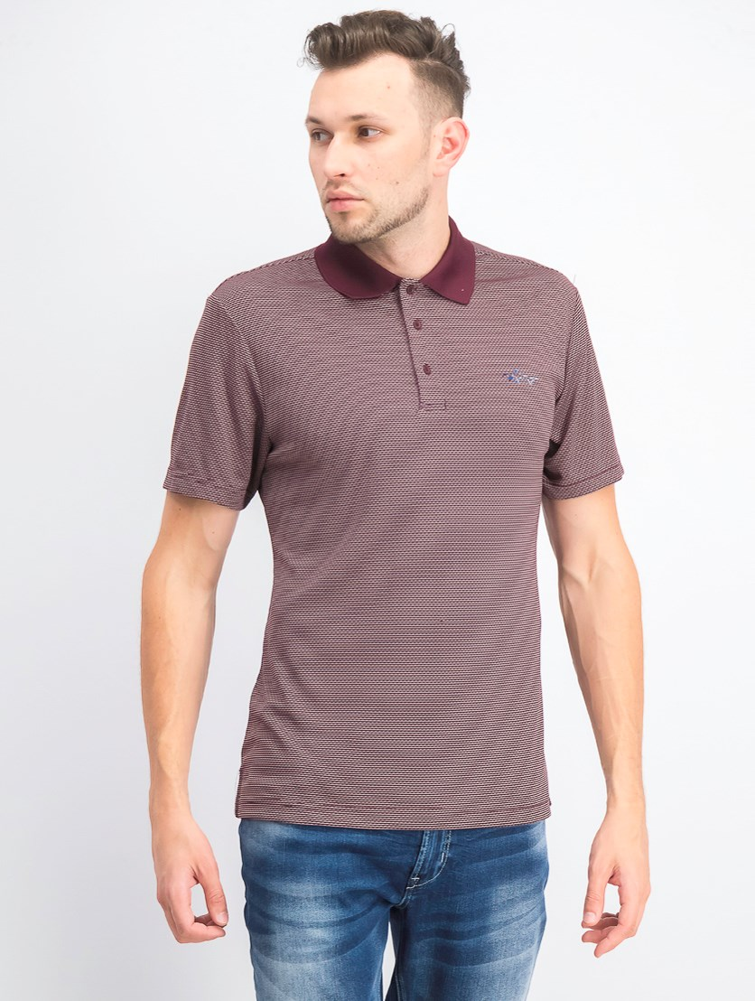 Men's Slim-Fit Jacquard Polo, Port