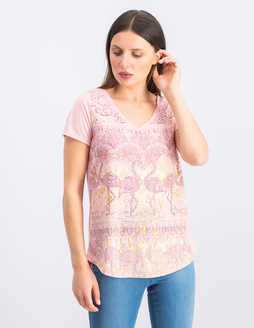 Women's  Graphic T-Shirt, Flamingo Party