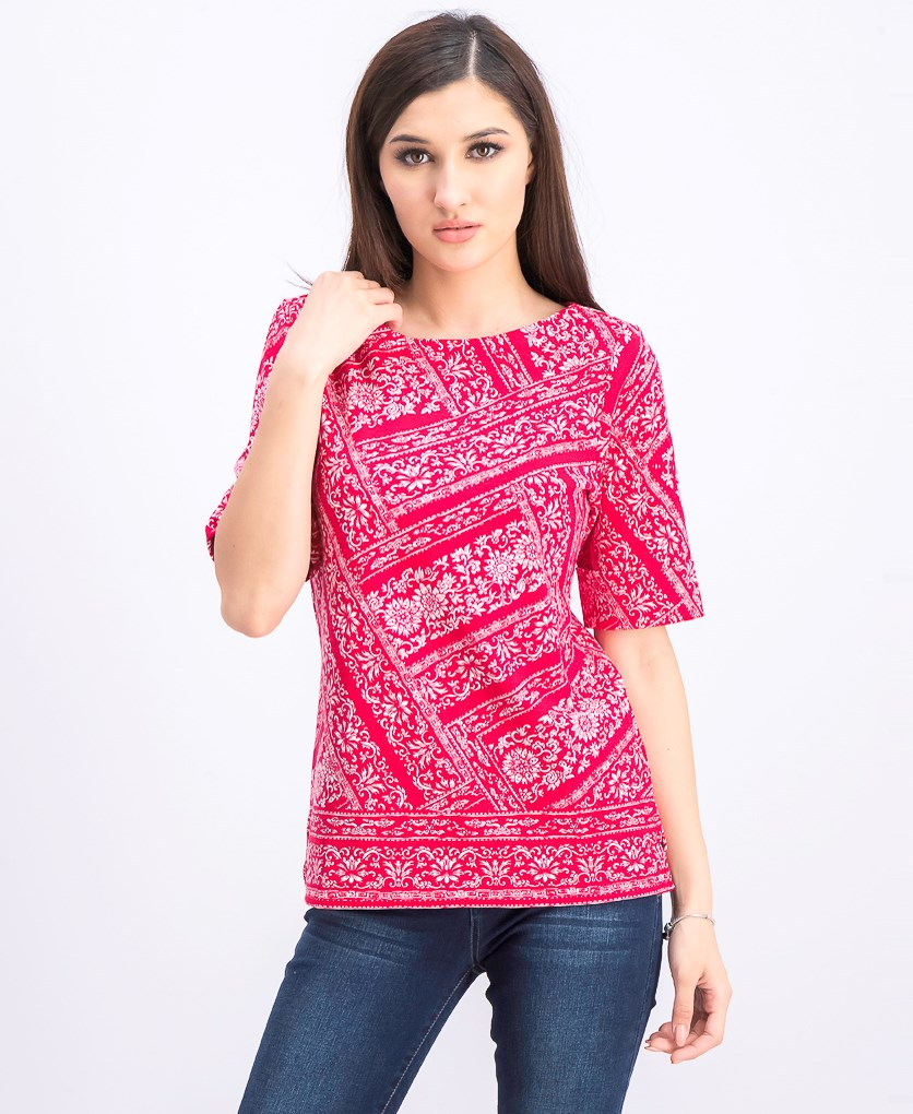 Women's Venice Vines Printed Top, Red Amore