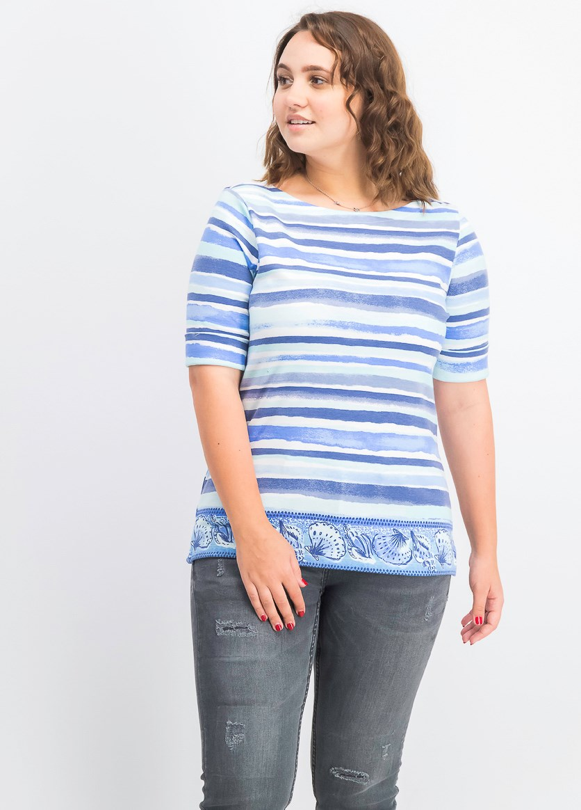 Striped Border-Print Boat-Neck Top, Indigo
