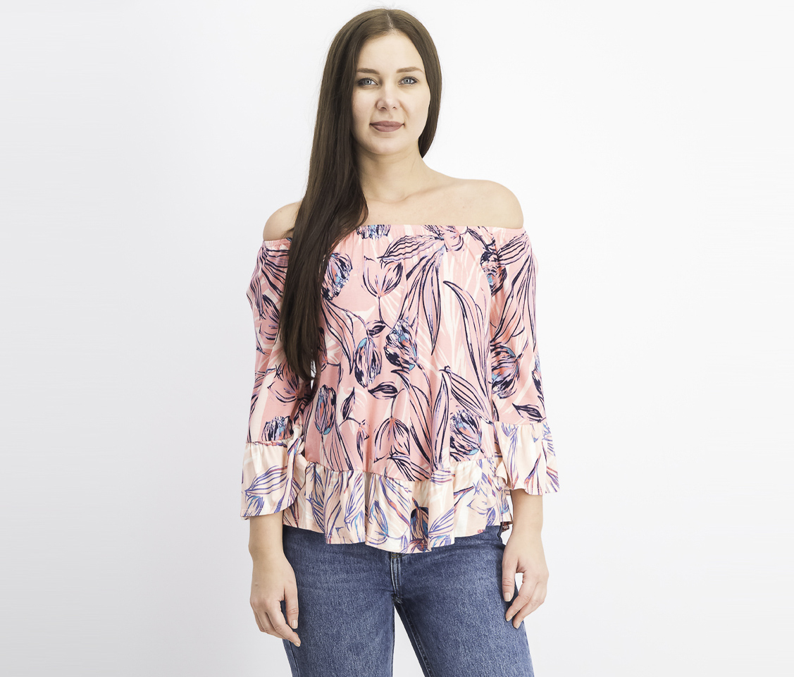 Women's Printed Off-the-Shoulder Top, Painted Light