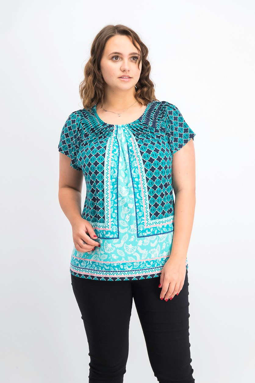 Women's Printed Pleated-Neck Top, Bright Tiles