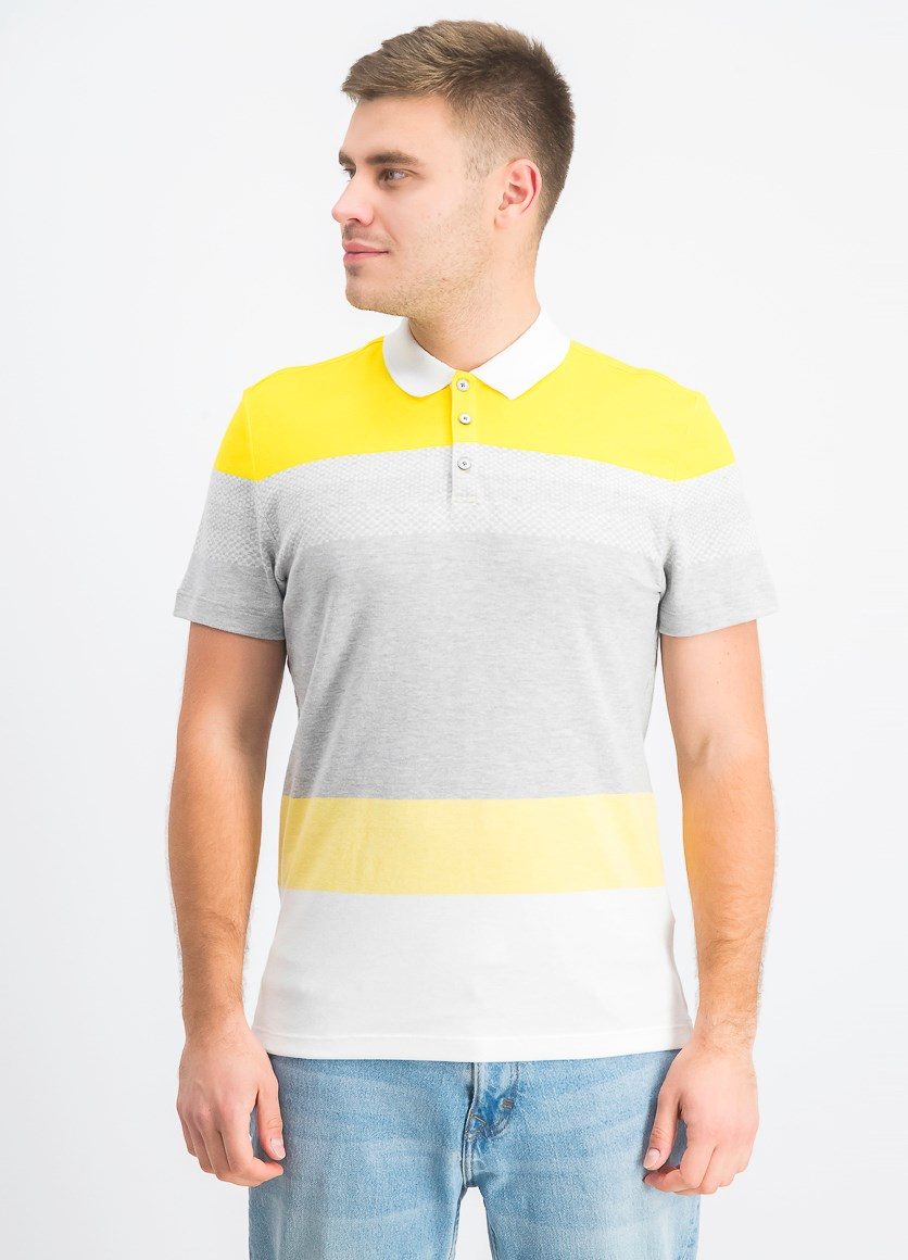 Mens Colorblocked Polo Shirt, Vibrant Yellow