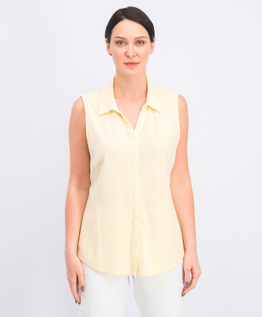Women's Cotton Stripe Top, Lemon Spritz Combo