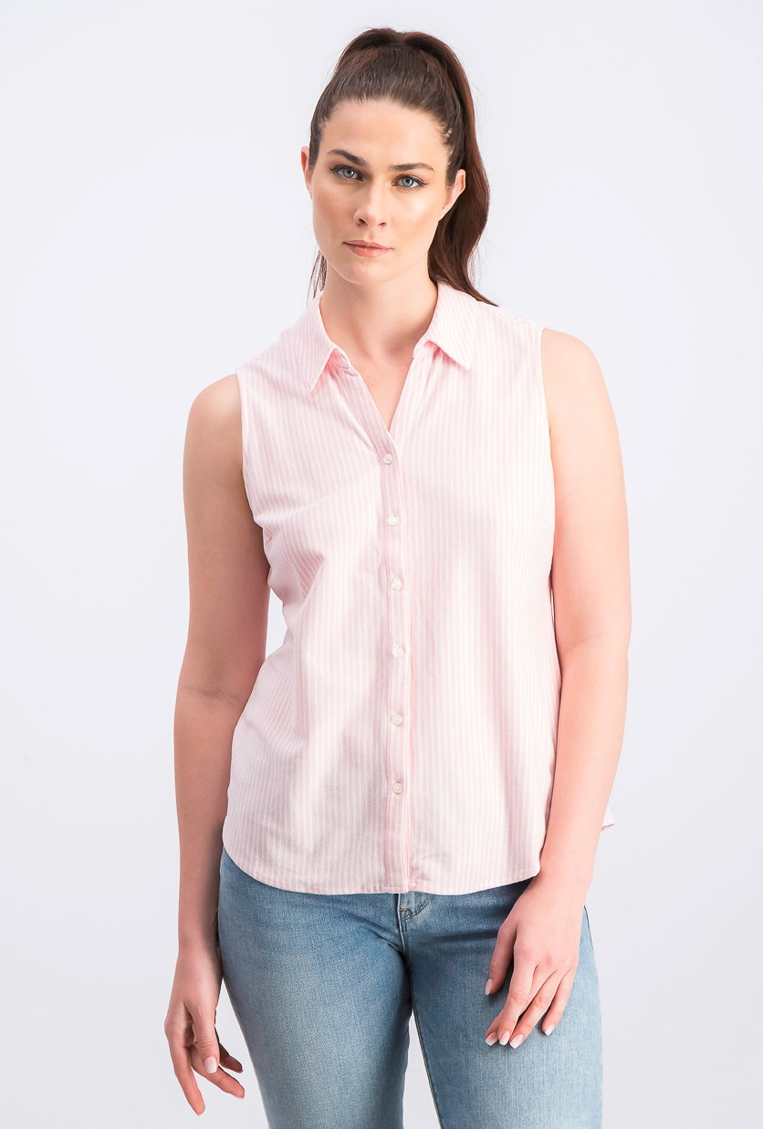 Women's Cotton Sleeveless Shirt, Classic Pink