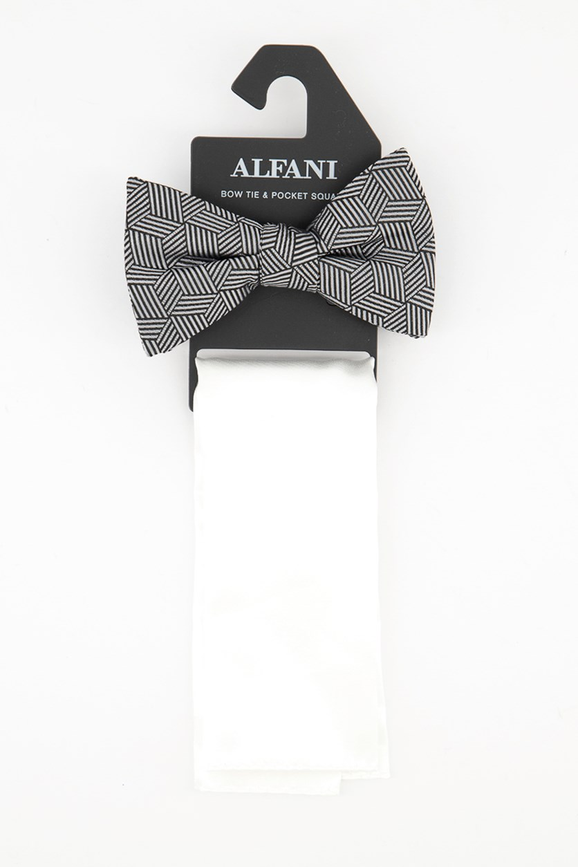 Men's Geometric Pre-Tied Bow Tie & Solid Pocket Square Set, White/Grey/Black