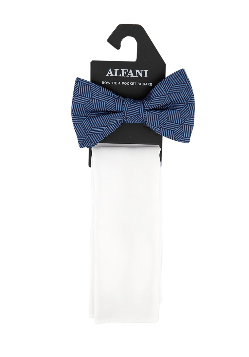 Men's Pre-Tied Bow Tie & Pocket Square Set, Navy Blue/Whire