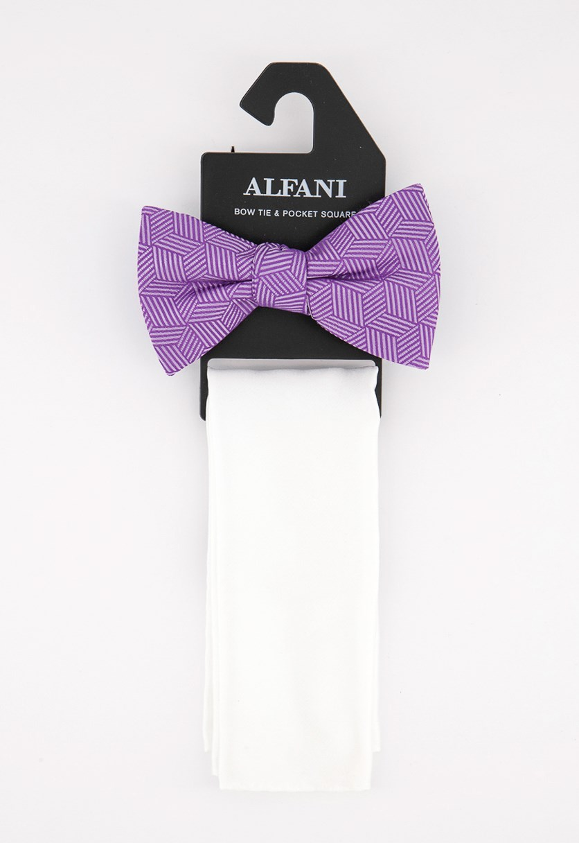 Men's Geometric Pre-Tied Bow Tie & Solid Pocket Square Set, Purple/White