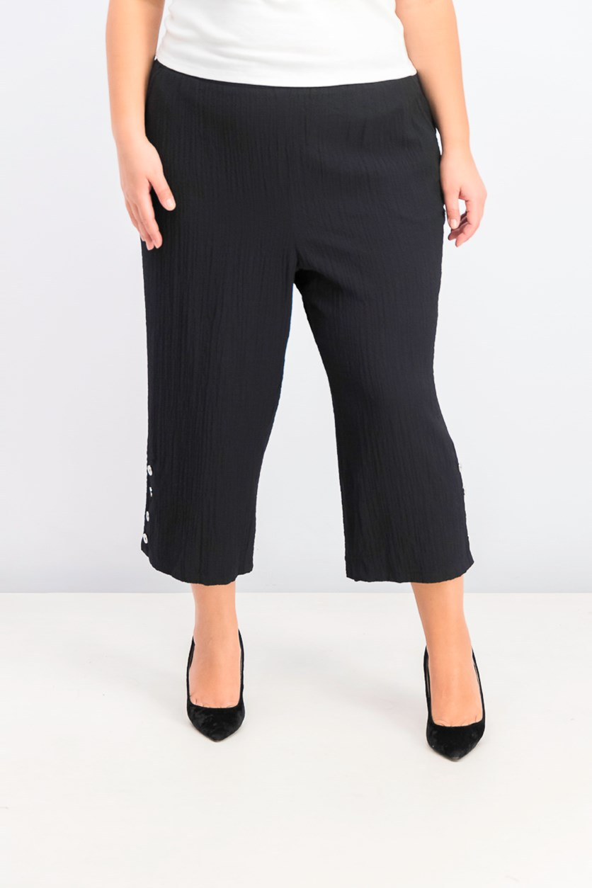 Plus Size Button-Hem Capri Pants, Deep Black