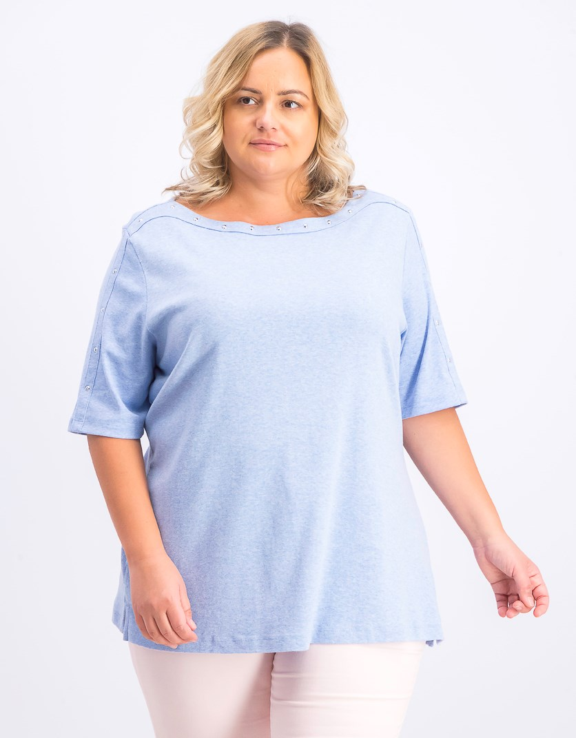 Women's Plus Size Studded Top, Light Blue Heather