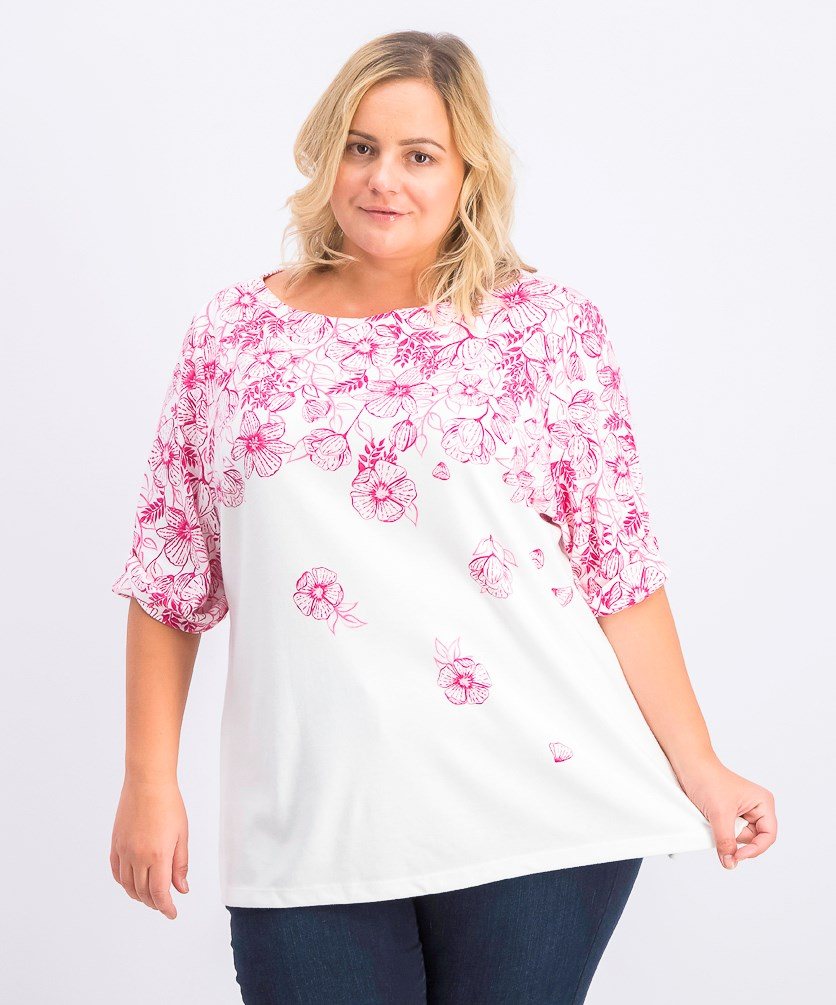 Women's Plus Size Floral Print T-Shirt, Steel Rose