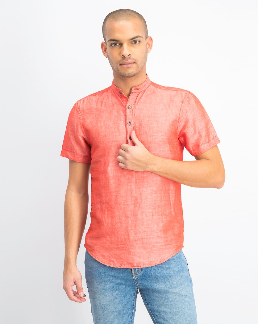 Men's Cameron Linen Shirt, Hot Sauce