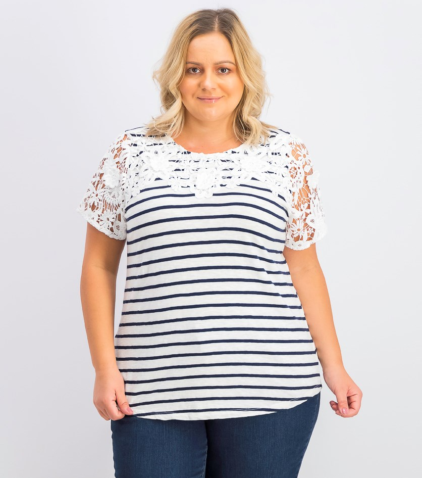 Women's Plus Size Striped Embroidered Top, Bright White/Navy