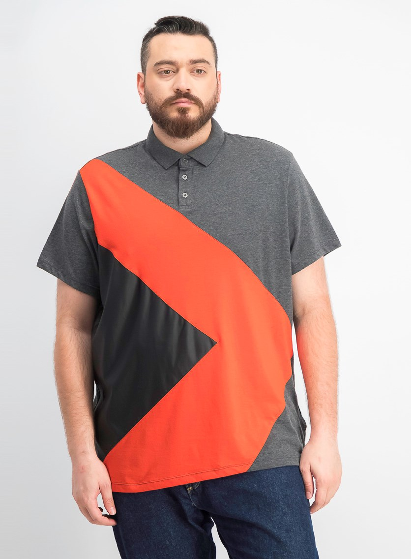 Men's Colorblocked Mixed Media Polo, Heather Onyx