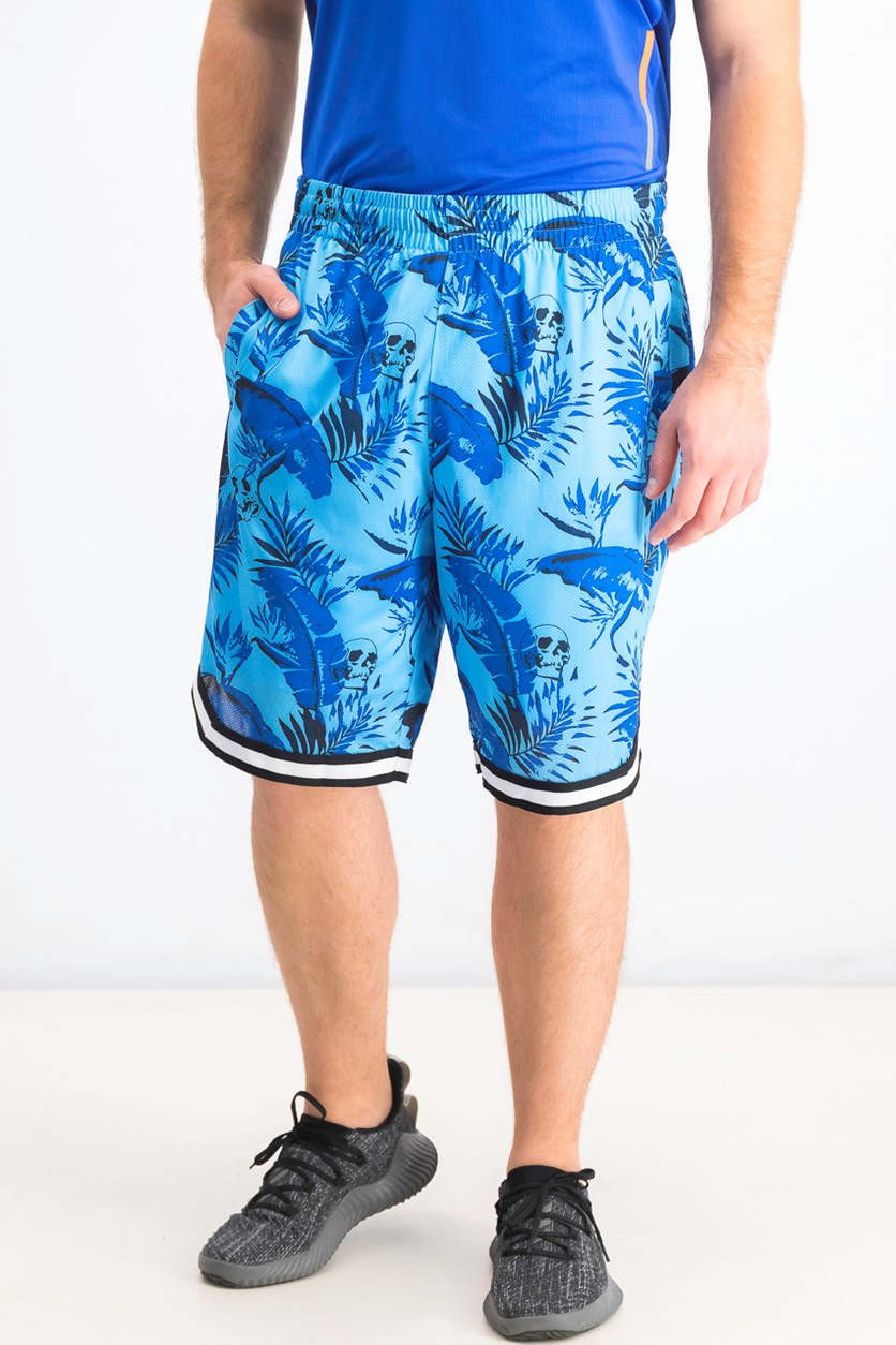 Men's Utopia Botanical Skull Print Shorts, Pool Party Blue