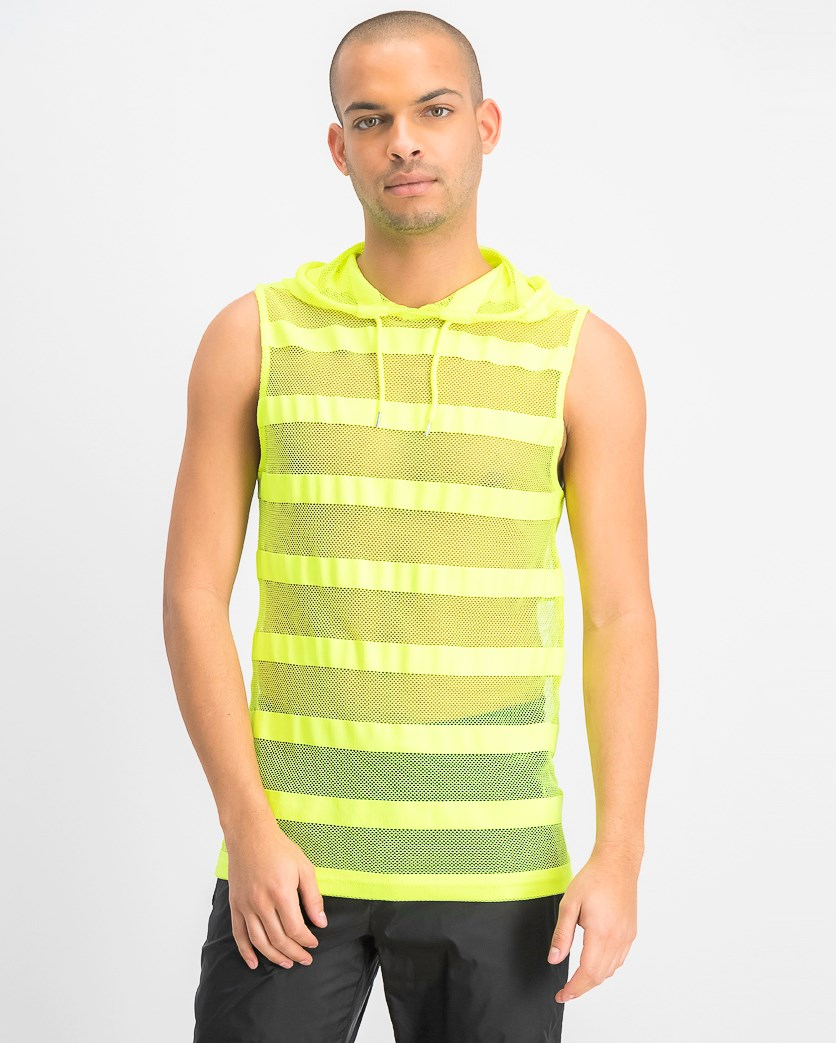 Men's Hooded Striped Mesh Tank, Lightning Yellow