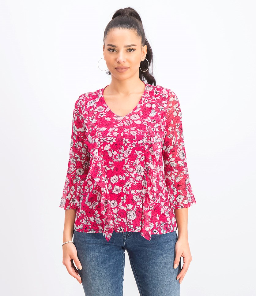 Women's Petite Ruffled Mesh Top, Pink Buzz Floral