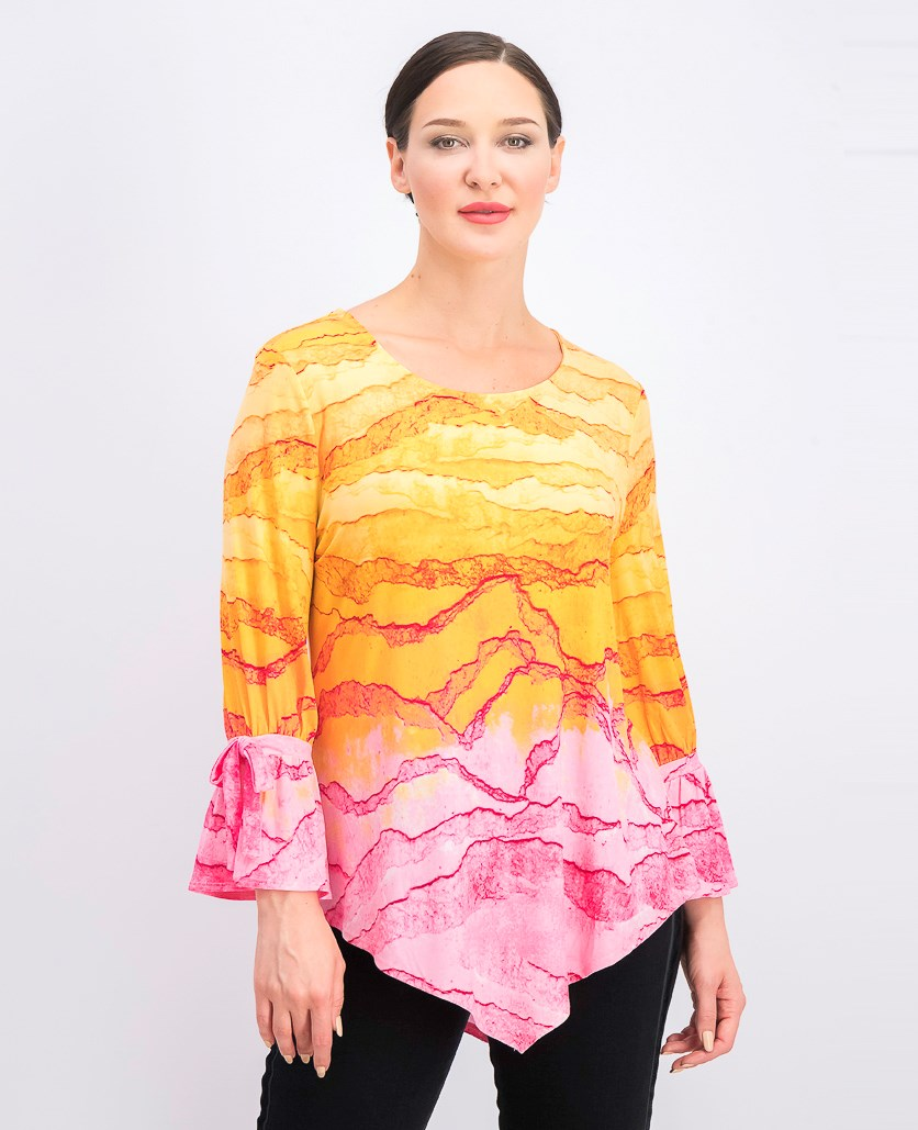 Women's Printed Pointed-Hem Top, Orange/Pink Combo