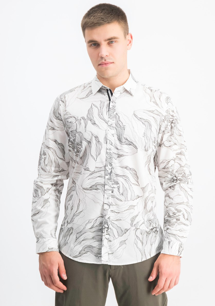 Men's Abstract Floral Shirt, Black/White
