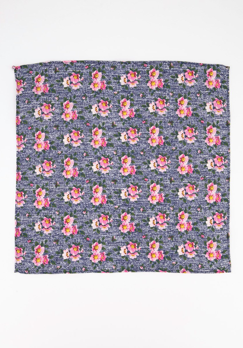 Men's Landell Floral Pocket Square, Navy Blue/Pink