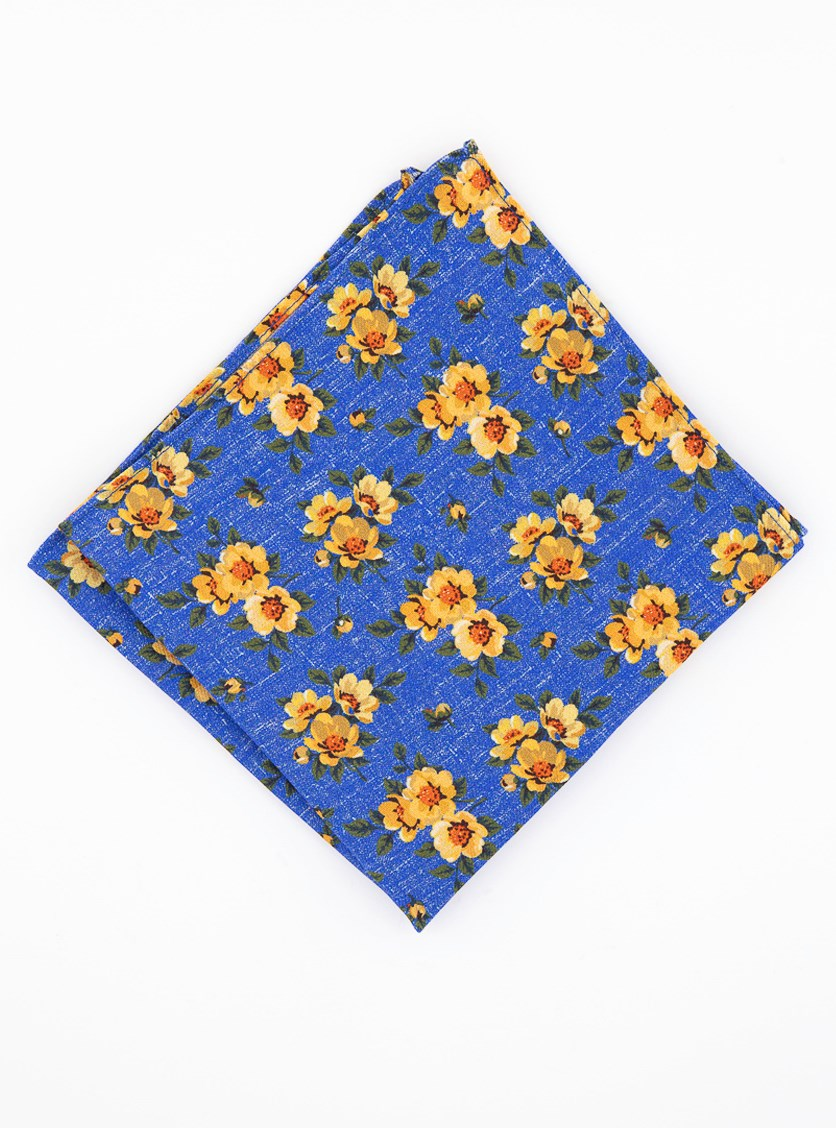 Men's Landell Floral Pocket Square, Blue