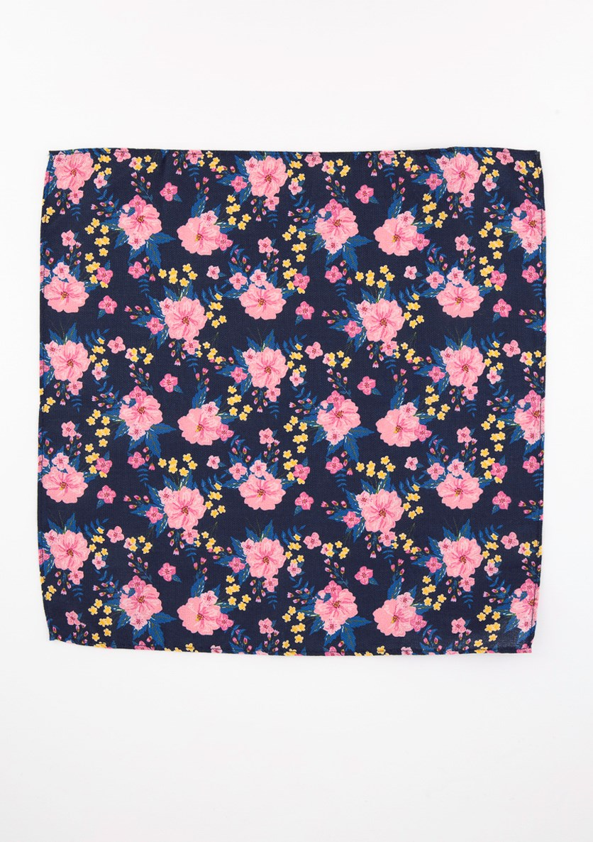 Men's Morgan Floral Pocket Square, Navy Blue/Pink
