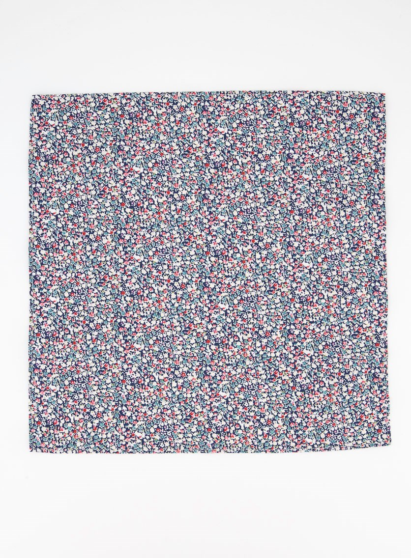 Men's Stella Floral Pocket Square, Navy Combo