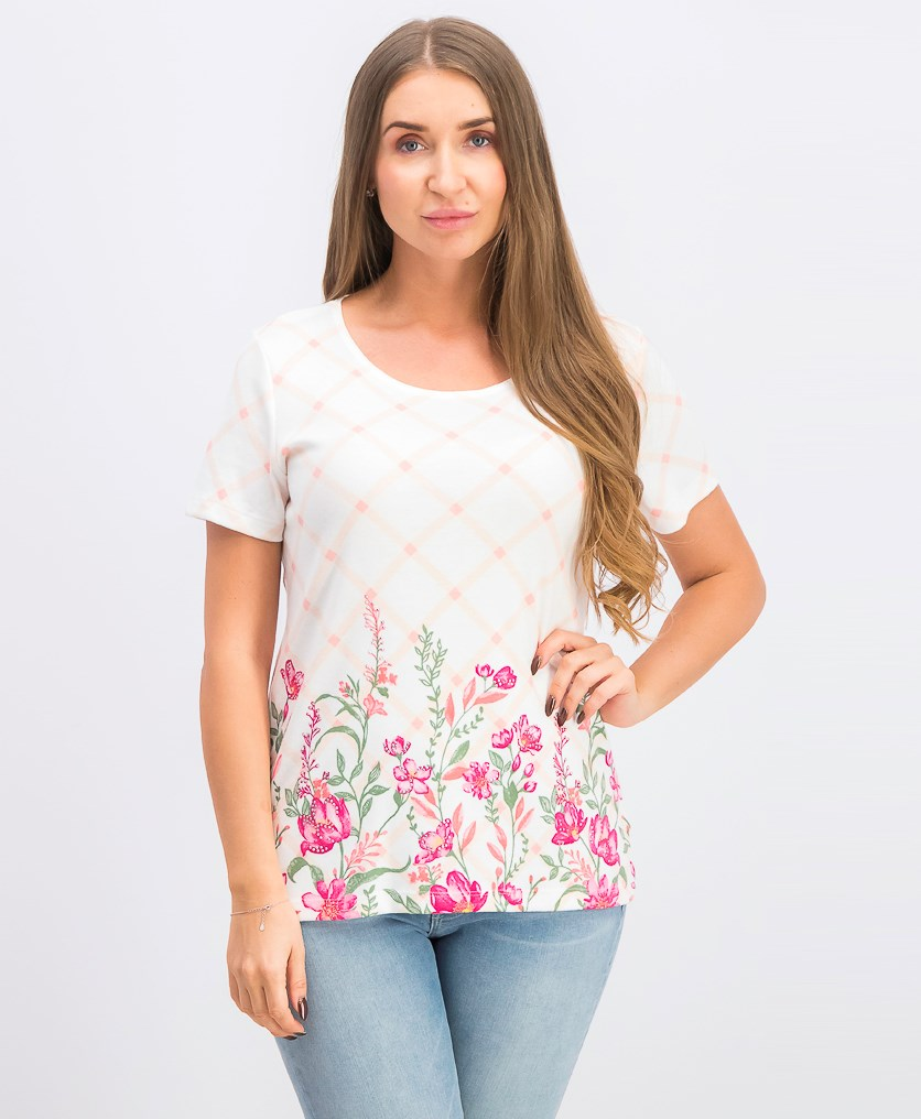 Women's Trellis-Print T-Shirt, Steel Rose