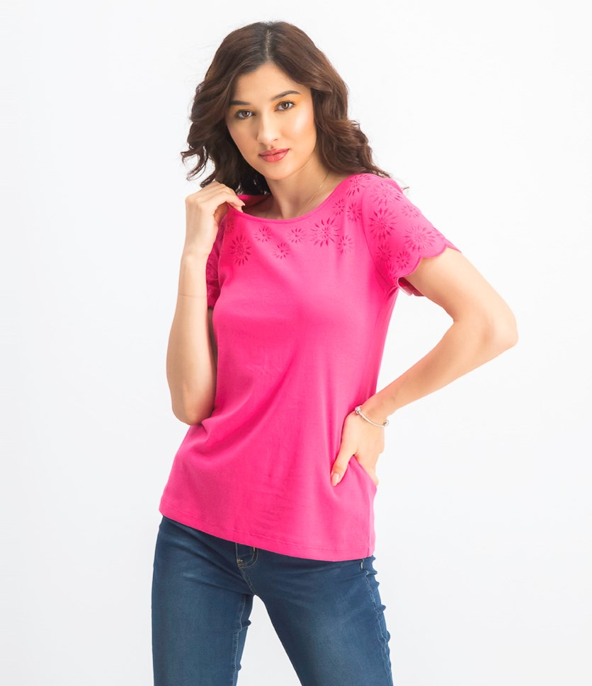 Women's Petite Embroidery-Trim Cotton Top, Steel Rose