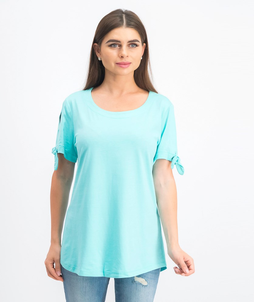 Women's Tie-Sleeve Top, Pacific Aqua