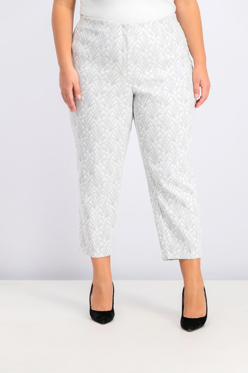 Women's Plus Size Printed Skinny Capri Pants, Layer Leaf Shine