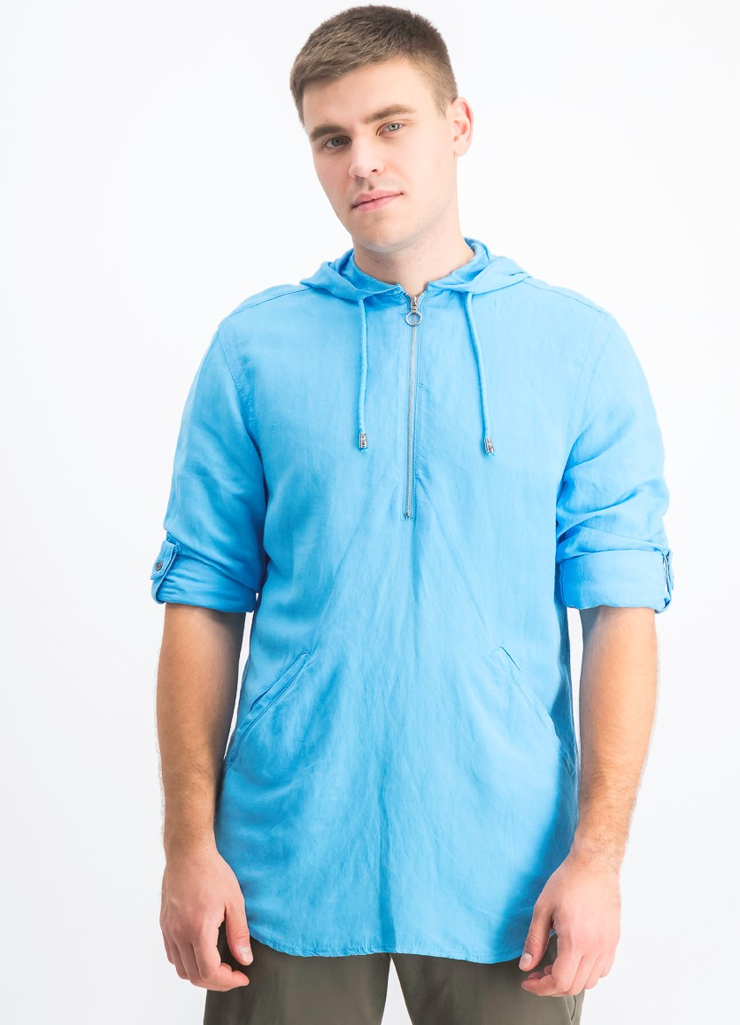Men's Half-Zip Hoodie, Pool Party Blue