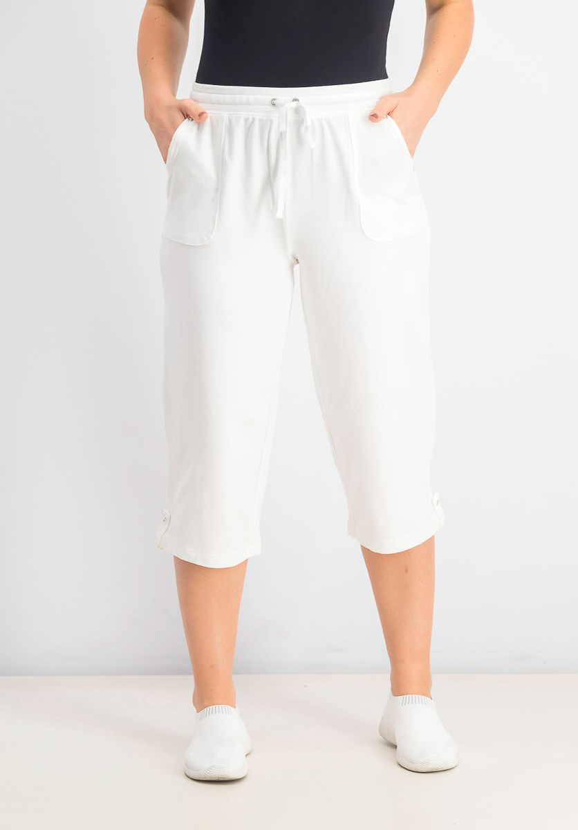 Women's Petite French-Terry Capri Pants, Bright White