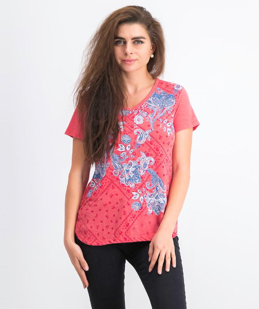 Women's Petite Graphic-Print T-Shirt, Bandana Fields