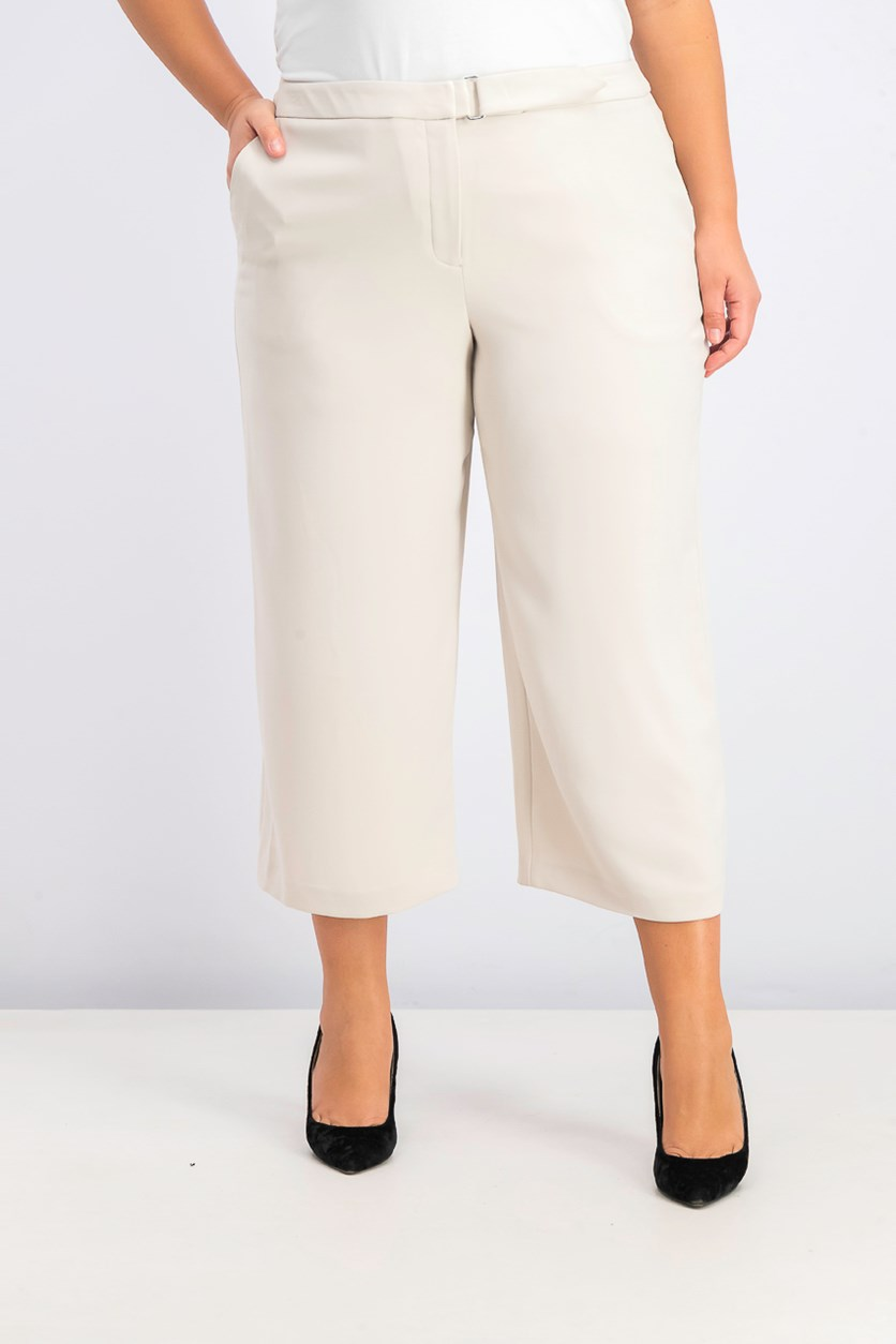 Women's Belted Culotte Pants, Polished Beige