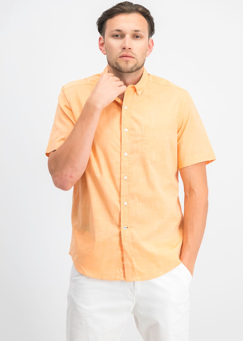 Men's Stretch Performance Micro-Check Shirt, Orange Combo