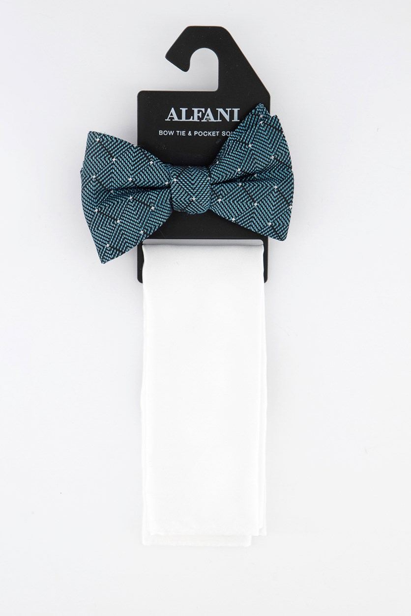 Men's Pre-Tied Dot Bow Tie & Solid Pocket Square Set, White/Teal