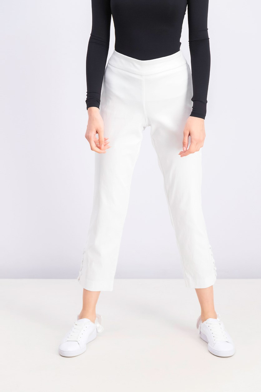 Women's Petite Criss-Cross Studded Ankle Pants, Bright White