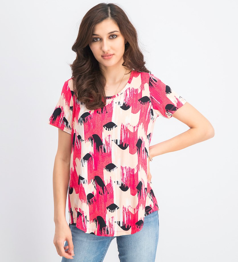 Women's Printed Scoop-Neck Top, Rhythm Wave