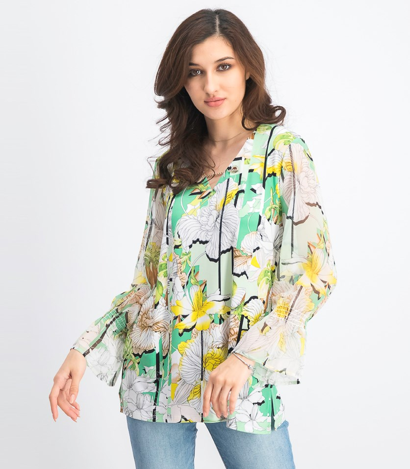 Women's Printed Bell-Sleeve Top, Calley Orchids