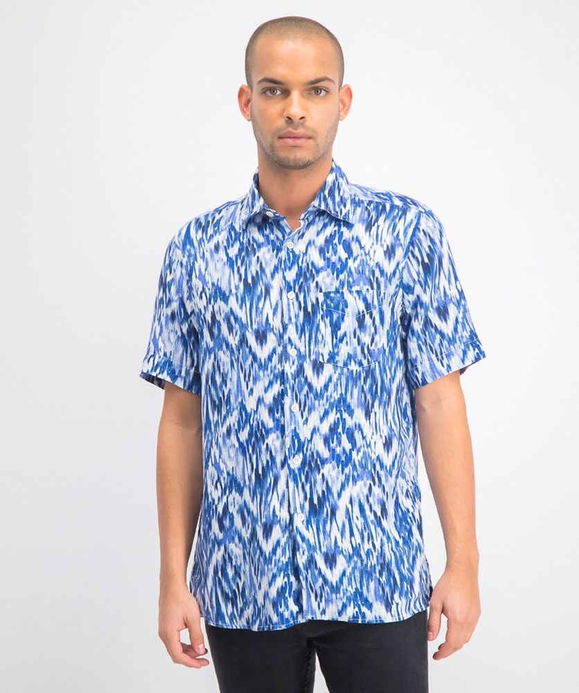 Men's Utata Ikat Linen Shirt, Blue Combo