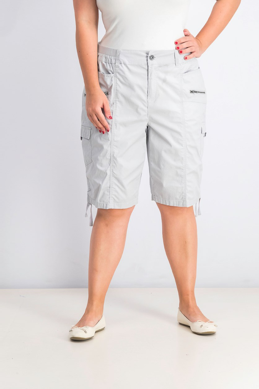Women's Plus Size Cargo Bermuda Shorts, Gray