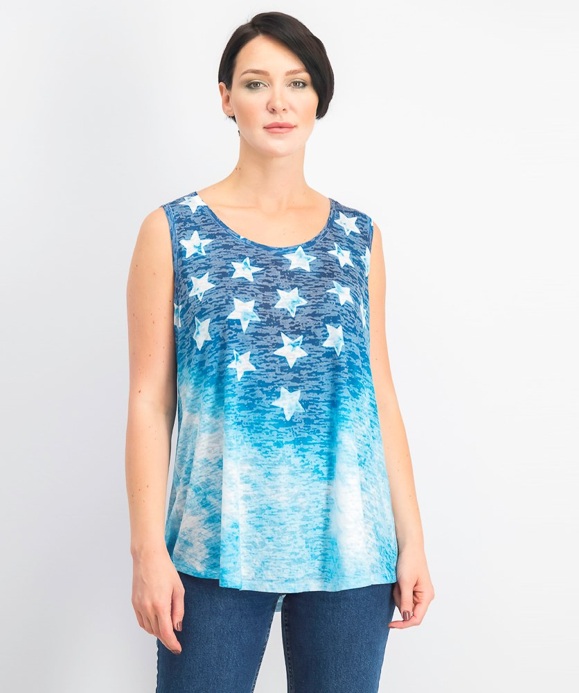 Women's Graphic Ombre Sleeveless Top, Star Sunset