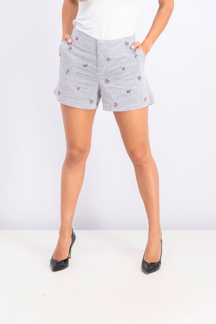 Women's Striped Floral-Print Shorts, Blue Seersucker